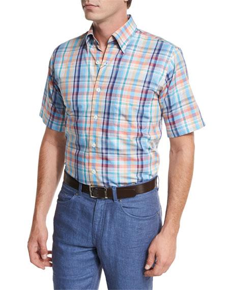 Peter Millar Sailing Plaid Short-Sleeve Sport Shirt, Bright