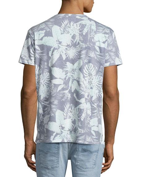 Mystique Tropical-Print V-Neck T-Shirt, Light Blue