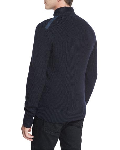 Suede-Trim Zip-Front Merino Wool Cardigan, Navy