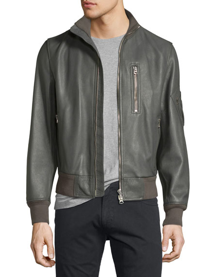 Burberry Leather Bomber Jacket, Dark Steel
