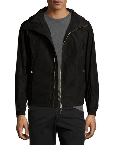 Burberry Fullerton Hooded Lightweight Technical Jacket, Black