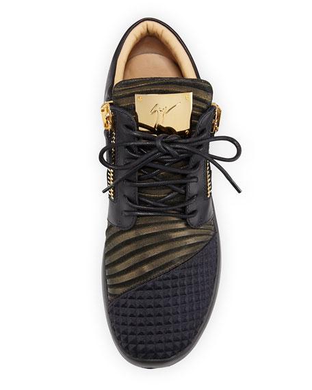 Men's Metallic Neoprene & Leather Trainer Sneaker