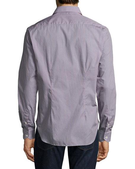 Triangle-Print Sport Shirt, Navy/Red/White