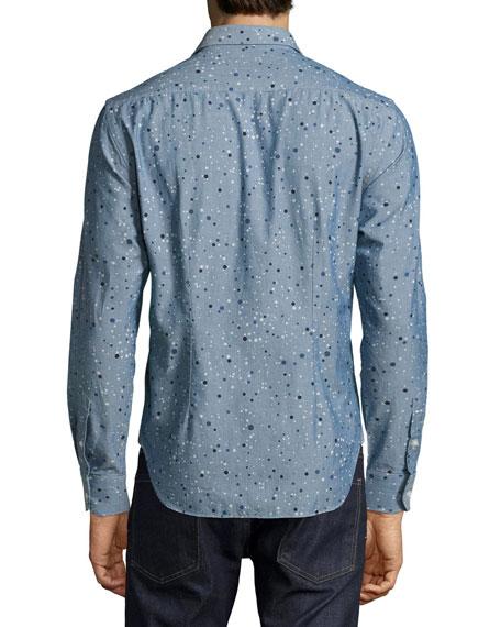 Multi-Dot Chambray Sport Shirt, Blue