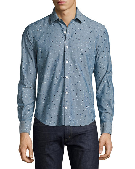 Culturata Multi-Dot Chambray Sport Shirt, Blue