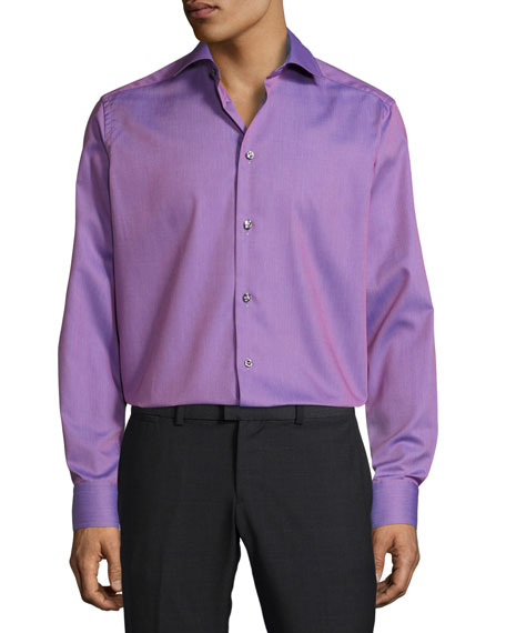 Eton Textured Solid Button-Front Shirt, Pink