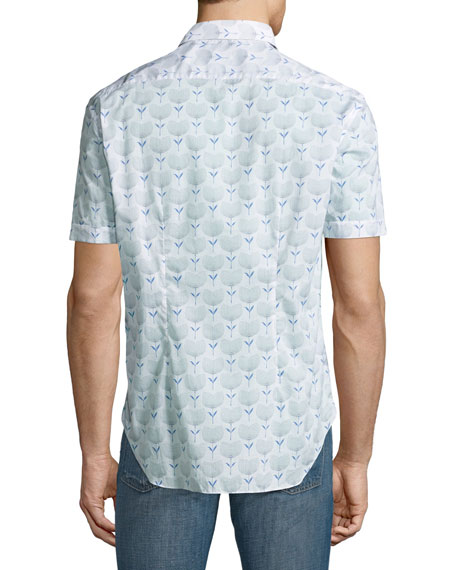 Floral-Print Short-Sleeve Sport Shirt, White/Navy