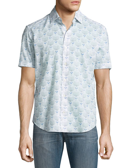 Culturata Floral-Print Short-Sleeve Sport Shirt, White/Navy