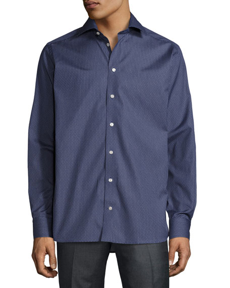 Circular-Print Button-Front Shirt, Navy