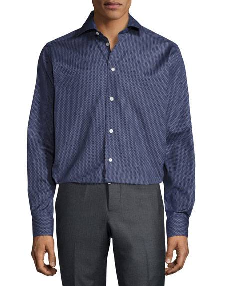 Eton Circular-Print Button-Front Shirt, Navy
