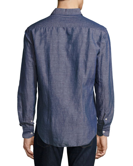 Melange Linen Sport Shirt, Blue/Red