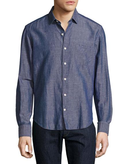 Culturata Melange Linen Sport Shirt, Blue/Red