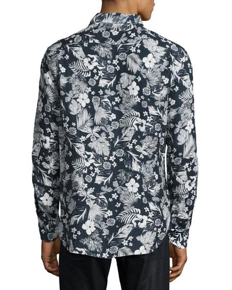 Floral-Print Linen Sport Shirt, Navy/White