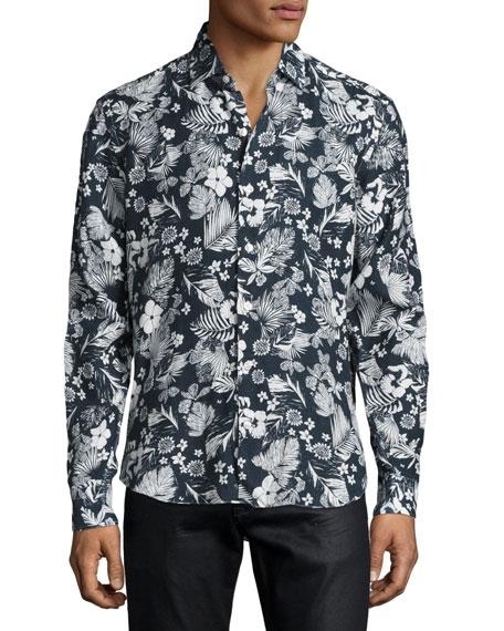 Culturata Floral-Print Linen Sport Shirt, Navy/White