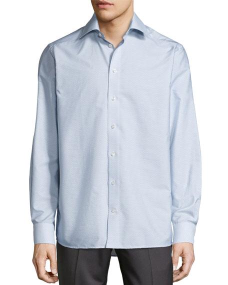 Geometric-Print Button-Front Shirt, Navy
