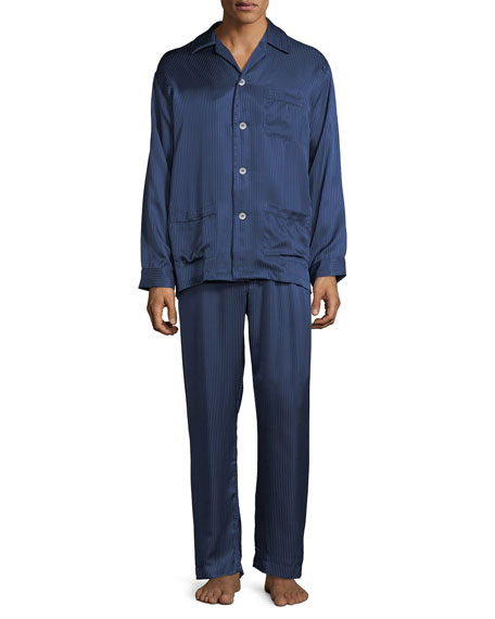 Derek Rose Bengal-Stripe Silk Satin Pajamas