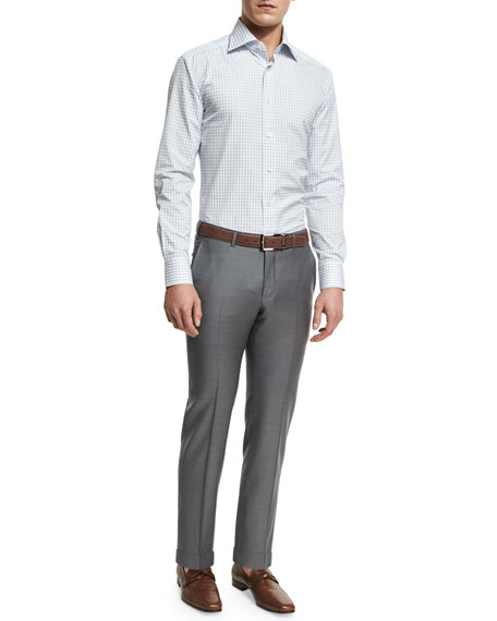Trofeo Flat-Front Trousers, Gray
