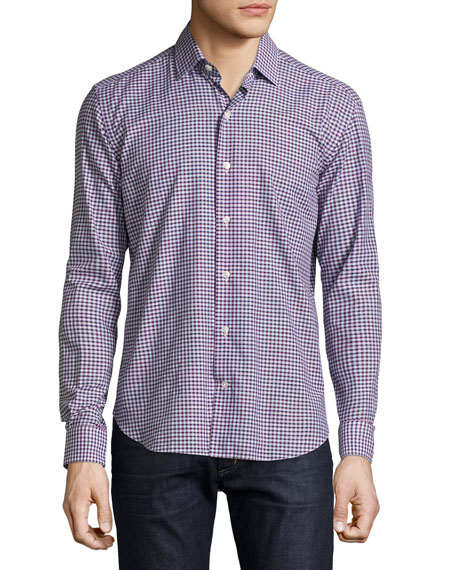 Culturata Mini-Plaid Sport Shirt, Navy/Red/Light Blue