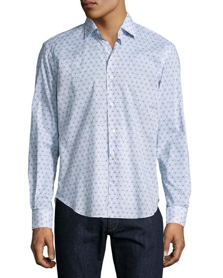 Culturata Starburst-Print Sport Shirt, White/Blue/Red