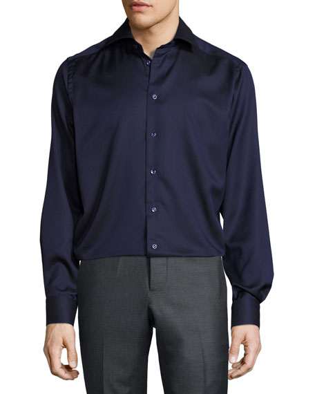 Solid Button-Front Shirt, Navy