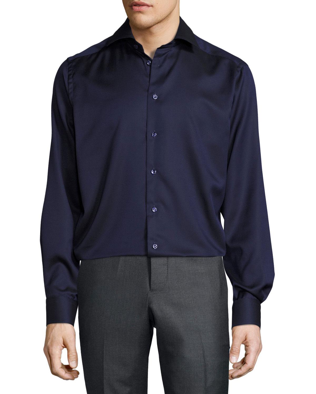 eton solid button front shirt navy neiman marcus. Black Bedroom Furniture Sets. Home Design Ideas