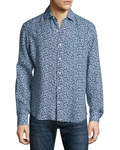 Culturata Floral-Print Linen Sport Shirt, Navy/Light Blue