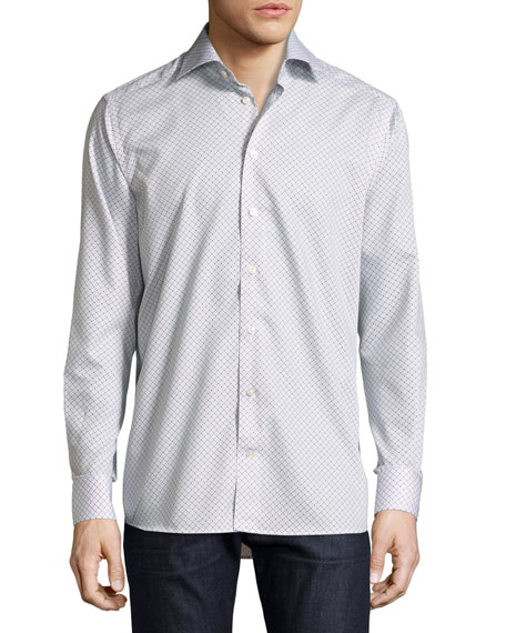 Eton Contemporary-Fit Geometric-Print Sport Shirt, Beige/Blue
