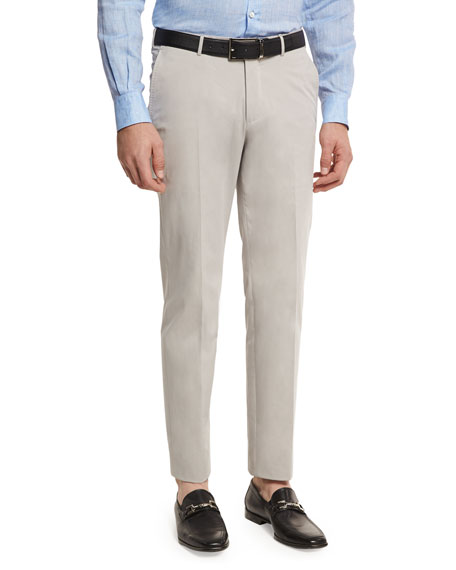 Ermenegildo Zegna Cotton-Cashmere Flat Front Trousers, Putty