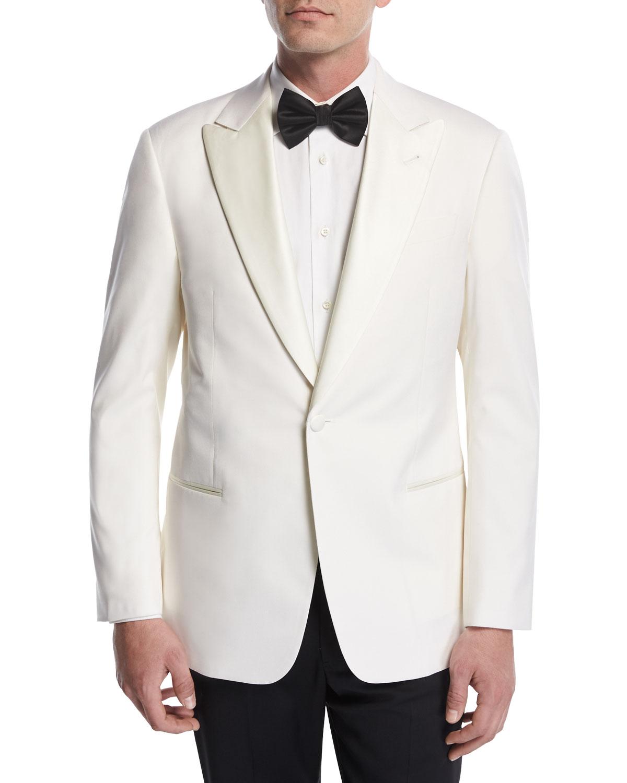 266f0e7b Satin-Lapel Dinner Jacket, White