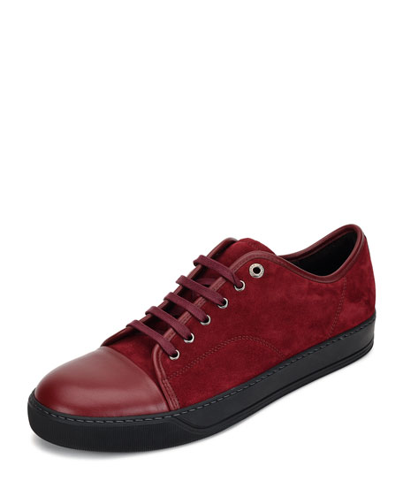 Lanvin Matte Cap-Toe Low-Top Sneaker, Red