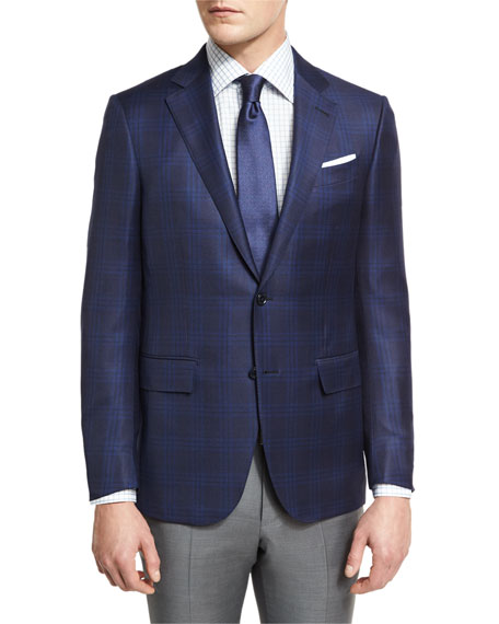 Ermenegildo Zegna Tonal Plaid Two-Button Sport Coat, Navy