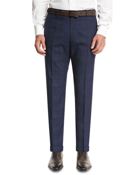 Plaid Super 120s Wool Trousers, Navy