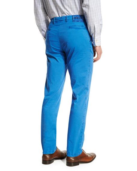 Flat-Front Chino Pants, Blue