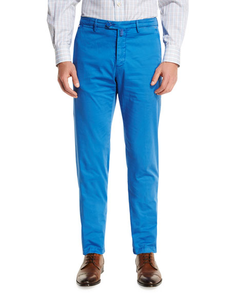 Kiton Flat-Front Chino Pants, Blue