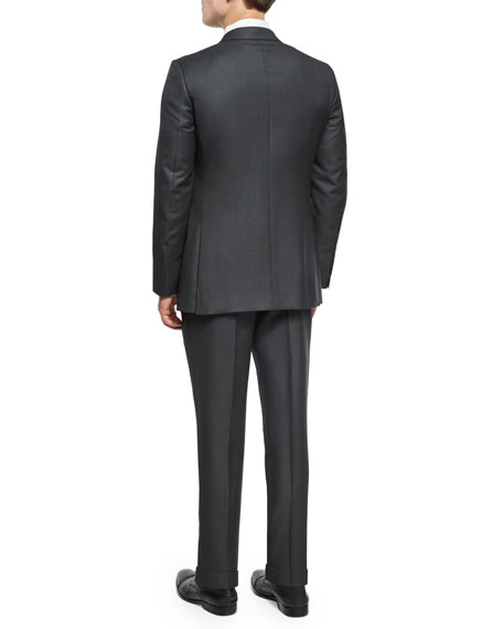Birdseye Two-Piece Suit, Charcoal
