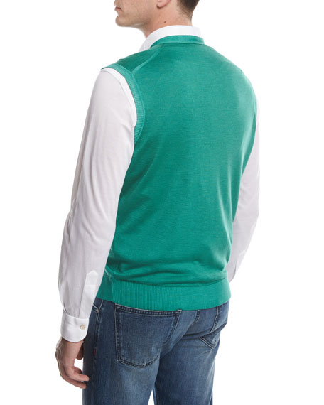 Cashmere-Silk Cardigan Vest, Green