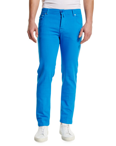 Kiton Twill Five-Pocket Pants, Capri Blue