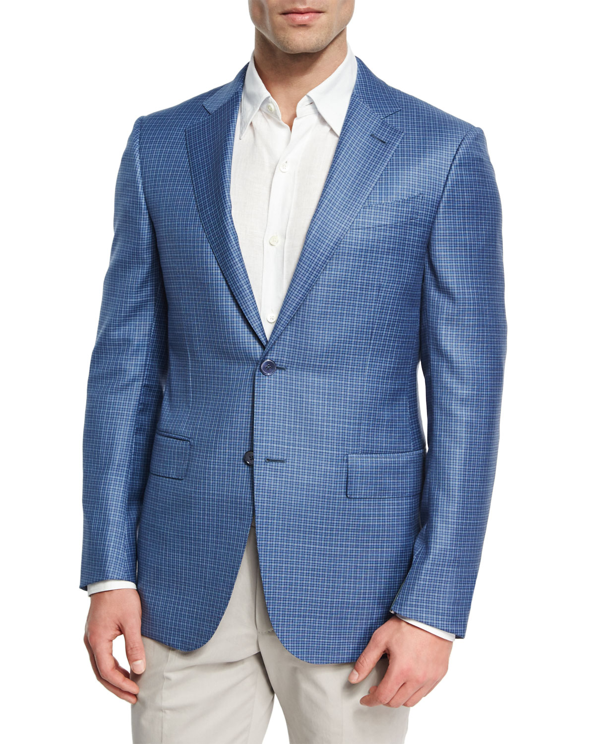 Ermenegildo Zegna Check Two Button Sport Coat Blue White
