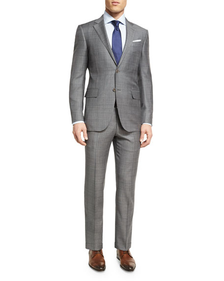 Plaid WOOL Two-Piece Suit, Light Gray