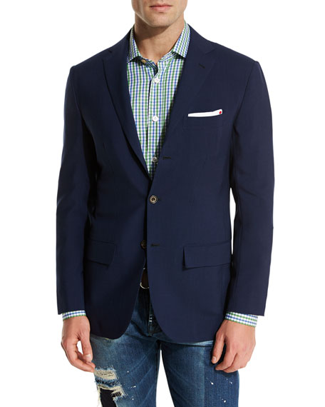 Cashmere Three-Button Sport Coat, Navy