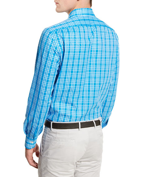 Plaid Sport Shirt, Capri Blue