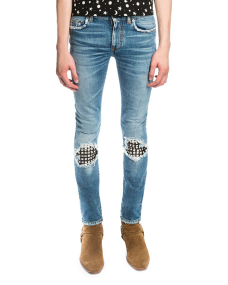 Saint Laurent Low-Waist Studded Leather-Patch Skinny Jeans,