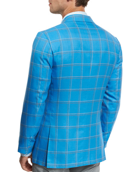 Large Plaid Three-Button Sport Coat, Blue