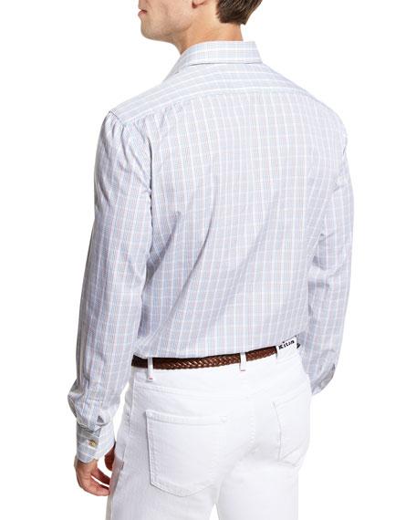 Plaid Sport Shirt, Blue/Brown/White