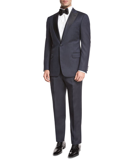 Textured Two-Piece Tuxedo with Satin Peak Lapel, Navy