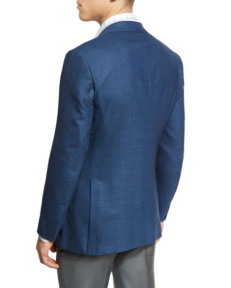 Manhattan Textured Two-Button Sport Coat, Blue