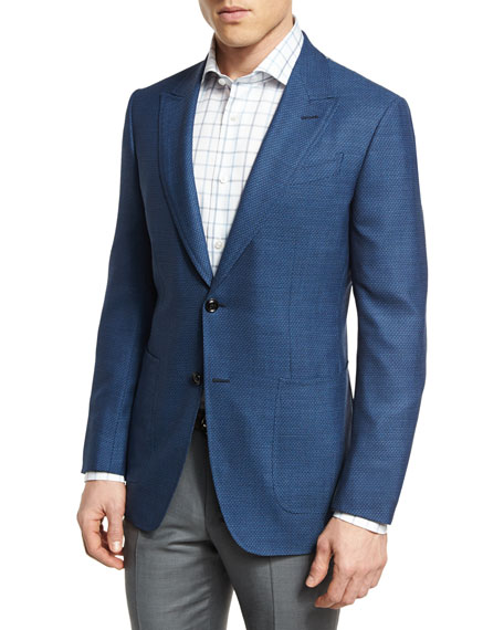Ermenegildo Zegna Manhattan Textured Two-Button Sport Coat, Blue