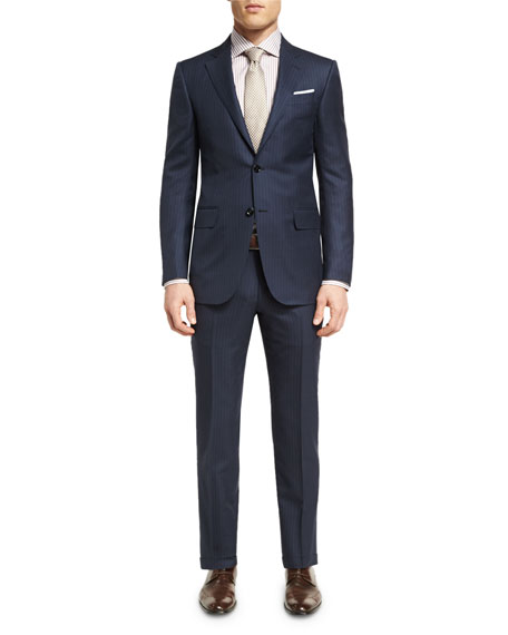 Striped Wool Two-Piece Suit, Navy