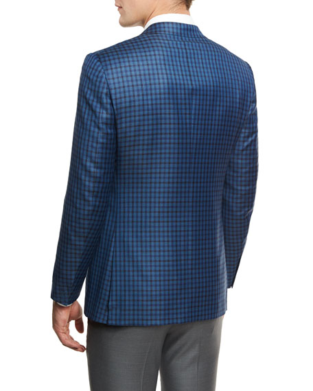 Check Two-Button Sport Coat, Blue