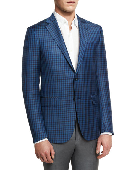 Ermenegildo Zegna Check Two-Button Sport Coat, Blue